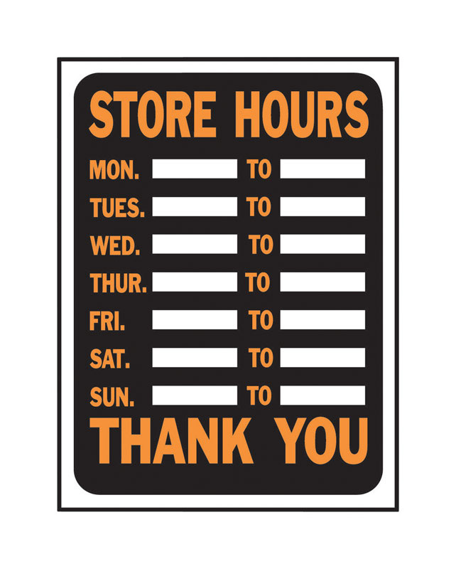 Hy-Ko  English  Store Hours  12 in. H x 9 in. W Plastic  Sign