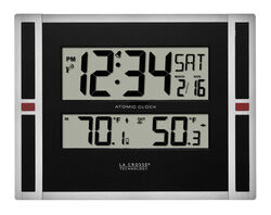 La Crosse Technology 11 in. L x 1-1/8 in. W Indoor Contemporary Digital Atomic Wall Clock Plast