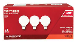 Ace  40 watts G25  Globe  Incandescent Light Bulb  Medium Base (E26)  White  3 pk