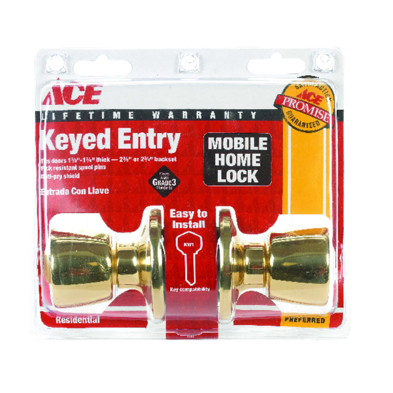 Ace  Mobile Home  Polished Brass  Steel  Entry Lockset  ANSI/BHMA Grade 3  1-3/4 in.