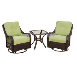 Hanover Orleans 3 pc. Chocolate Brown Steel Glider Chat Set Avocado Cushions