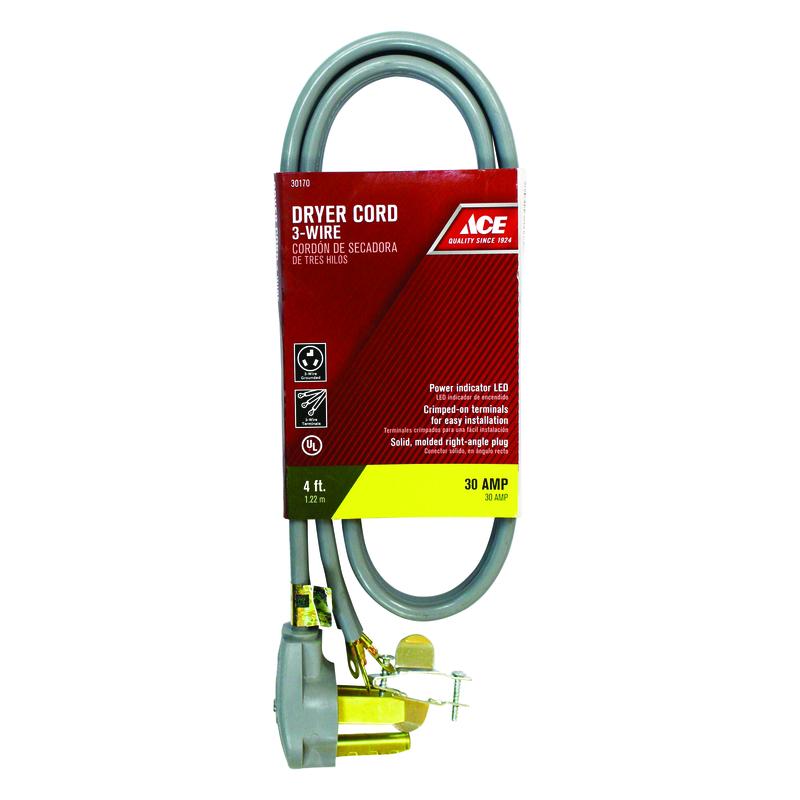 Ace 4 ft. L 10/3 SRDT Dryer Cord 3 Wire - Ace Hardware