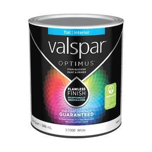 Valspar  Optimus  Flat  Basic White  Acrylic Latex  Paint and Primer  1 qt.