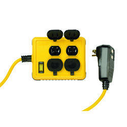 Yellow Jacket  6 ft. L 4 outlets Power Block  Yellow