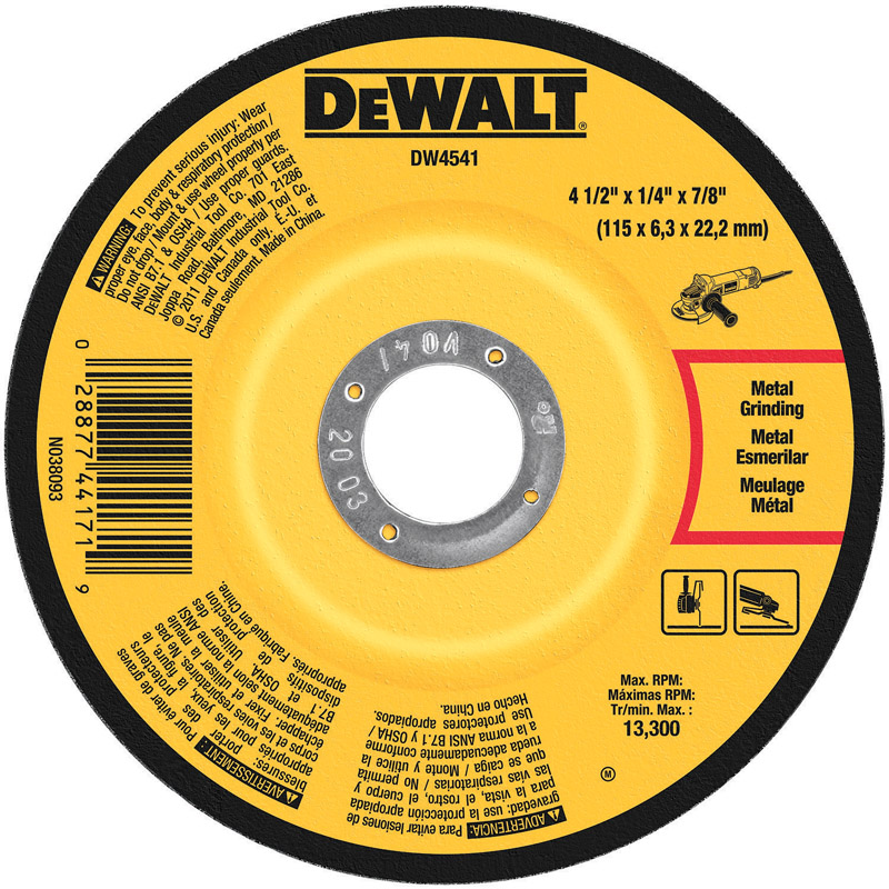 DeWalt  1/4 in. thick  x 7/8 in.   x 4-1/2 in. Dia. Aluminum Oxide  13300 rpm 1 pc. Metal Grinding W