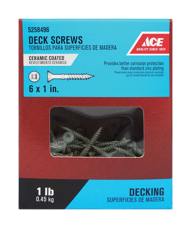 Ace  No. 6   x 1 in. L Square  Flat Head Ceramic Coated  Steel  Premium Deck Screws  1 lb. 285 pk