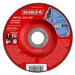 Diablo 4-1/2 in. Dia. x 7/8 in. Aluminum Oxide Metal Cut-Off Disc 10 pk