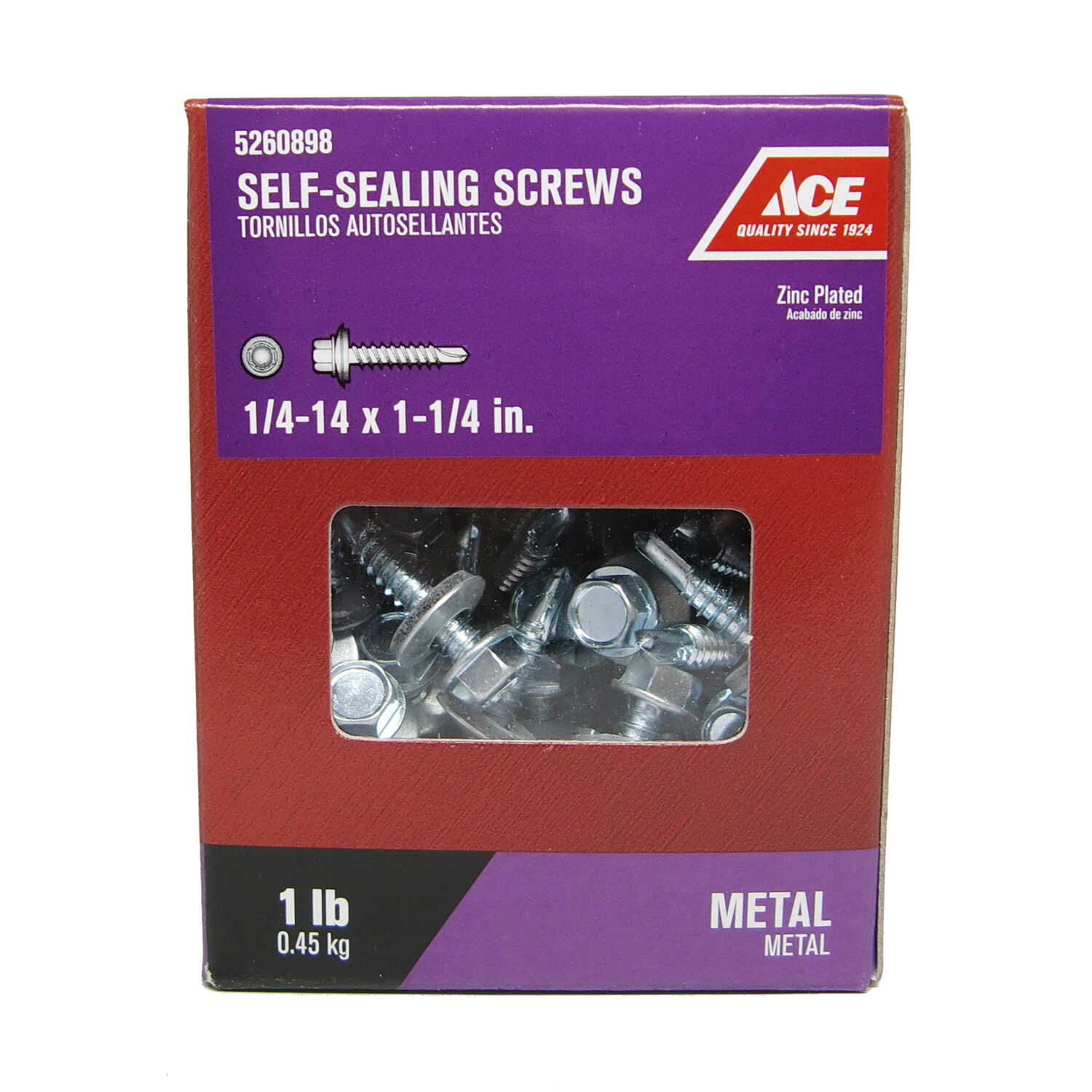 Ace  1/4-14 Sizes  x 1-1/4 in. L Hex Washer Head Zinc-Plated  Steel  Self-Sealing Screws  1 lb.