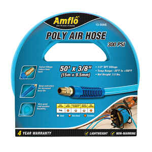 Amflo  50 ft. L x 3/8 in. Dia. Polyurethane  Air Hose  300 psi Blue