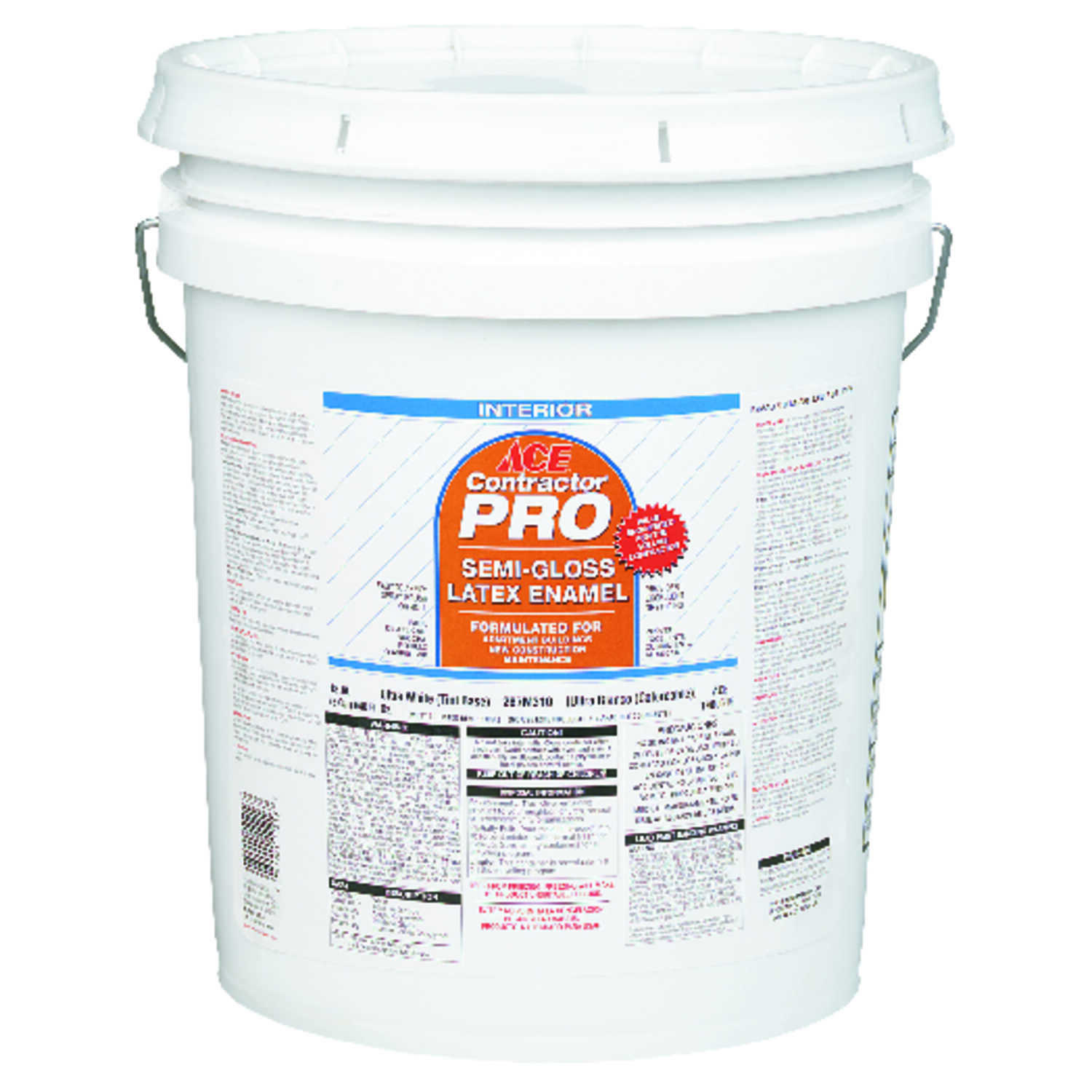 Ace  Contractor Pro  Semi-Gloss  Canvas White  Latex  Paint  5 gal.