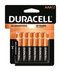 Duracell  Coppertop  AAA  Alkaline  Batteries  1.5 volts Boxed  12 pk