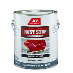 Ace  Rust Stop  Indoor and Outdoor  Gloss  Medium Gray  Rust Prevention Paint  1 gal.