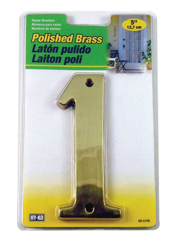 Hy-Ko  5 in. Brass  Number  Nail-On  1  Gold