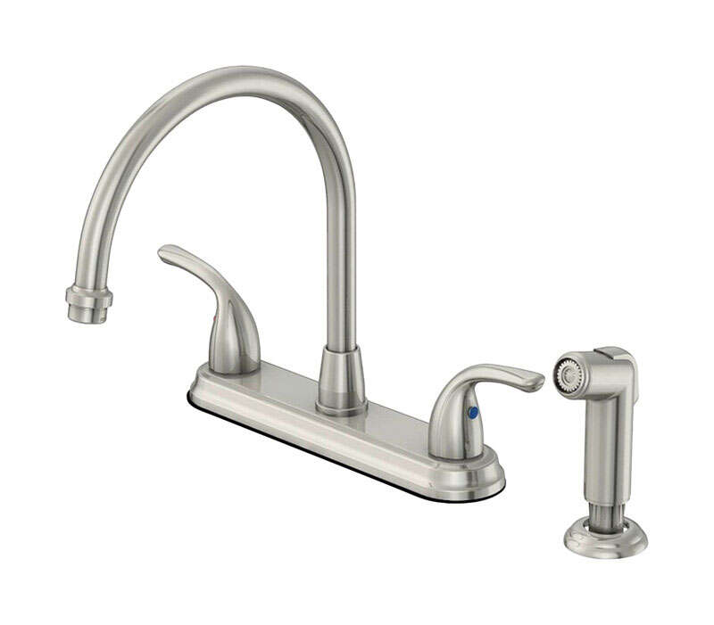 OakBrook Pacifica High Arc Two Handle Chrome Kitchen Faucet Side Sprayer Included