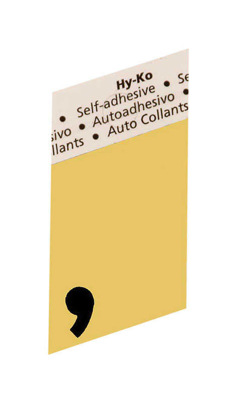 Hy-Ko  1-1/2 in. Aluminum  Black  Comma  Special Character  Self-Adhesive
