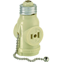 Leviton  Plastic  Medium Base  Lampholder w/Outlet & Pull Chain  1 pk