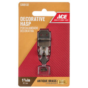 Ace  Antique  Brass  1.9 in. L x 0.6 in. W 1  1.9 in. Decorative Hasp