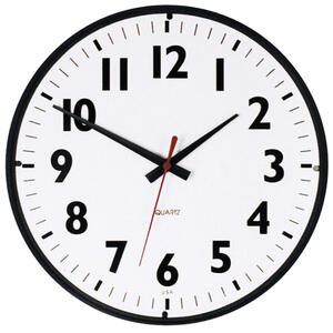 Westclox  14 in. L x 12 in. W Indoor  Analog  Wall Clock  Plastic  Black/White