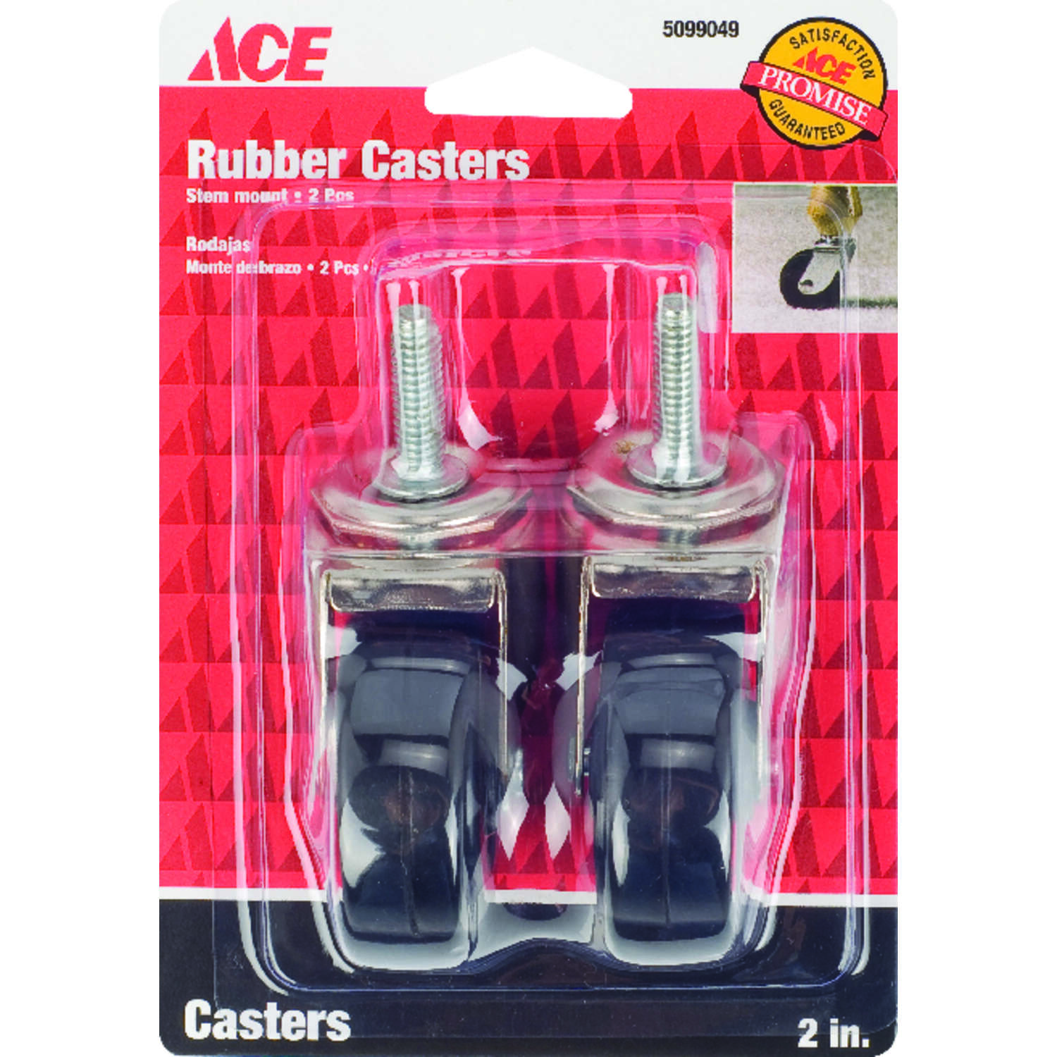 Ace  2 in. Dia. Swivel Rubber  Caster  80 lb. 2 pk