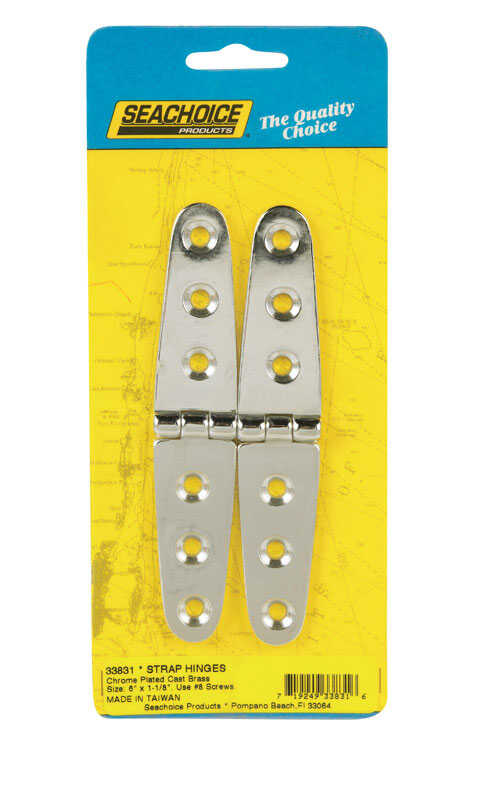 Seachoice  Chrome-Plated  Brass  6 in. L x 1-1/8 in. W Strap Hinges  2 pk