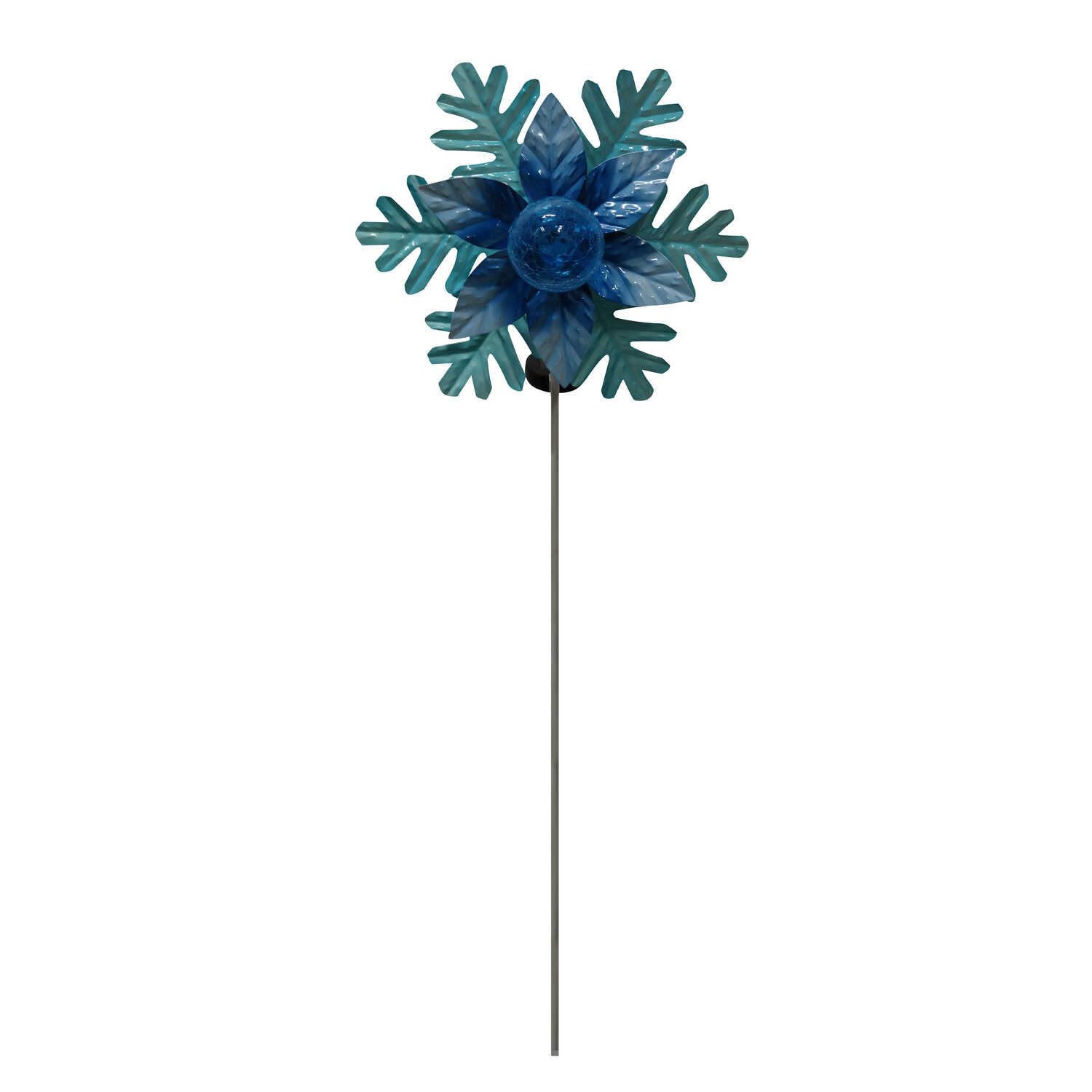 Alpine  Rotating LED Snowflake Stake  Christmas Decoration  Blue  Metal  1 each