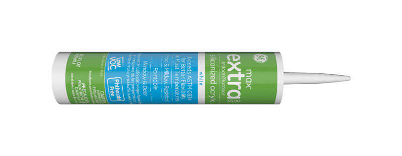 GE  Max Extra  White  Siliconized Acrylic  Caulk  10.1 oz.