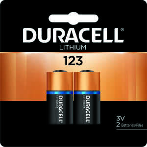Duracell  123  Camera Battery  Lithium  2 pk DL123AB2PK  3 volt
