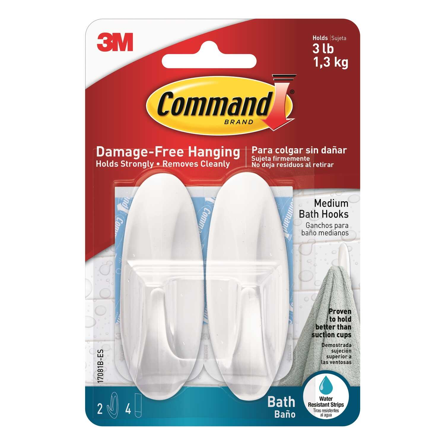 3M  Command  Medium  Hook  Plastic  3-1/8 in. L 2 pk