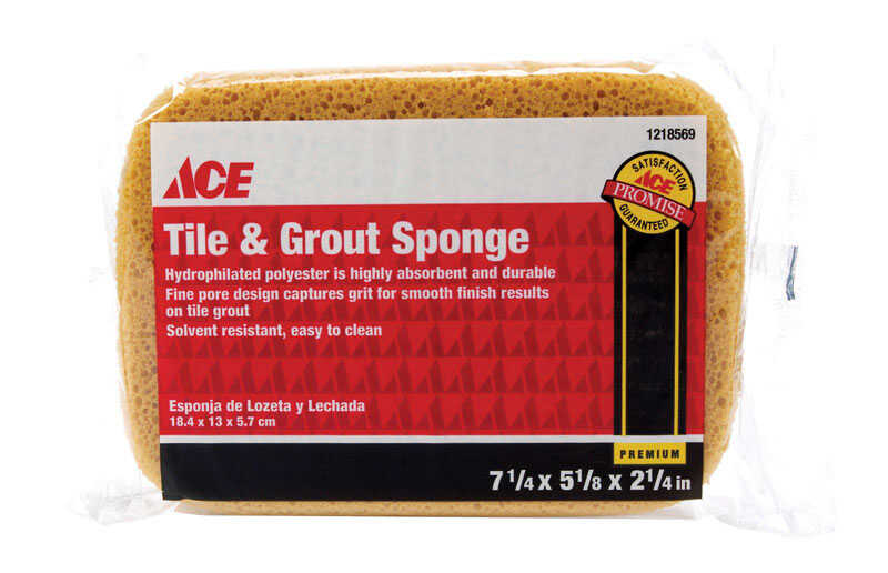 Ace  Tile and Grout  Delicate, Light Duty  Sponge  7-1/4 in. L 1 pk