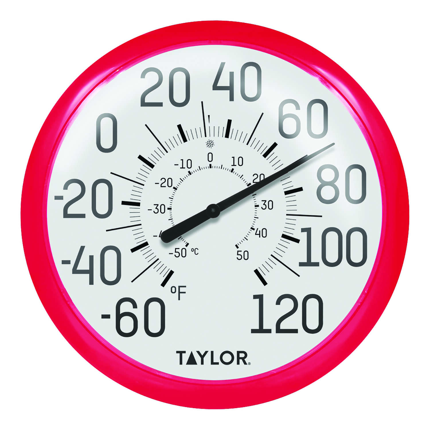 Taylor  Dial Thermometer  Plastic  Red