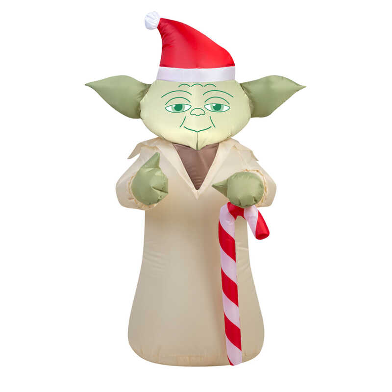 Gemmy  Star Wars Yoda with Candycane  Christmas Inflatable  1 pk Fabric