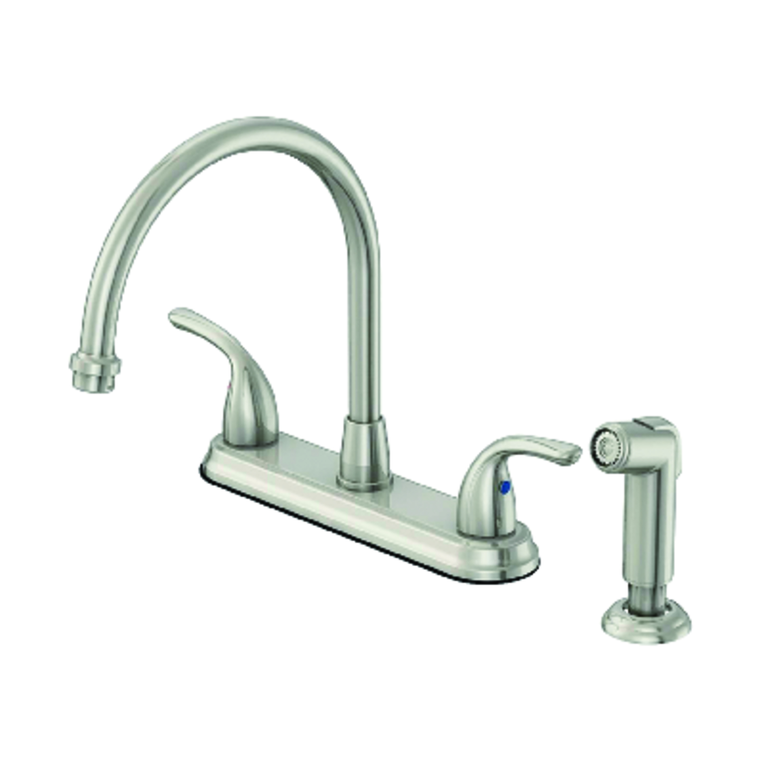 Oakbrook Pacifica High Arc Two Handle Brushed Nickel Kitchen Faucet
