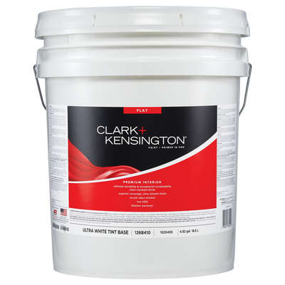 Clark+Kensington Flat Tint Base Ultra White Base Premium Paint Interior 5 gal.
