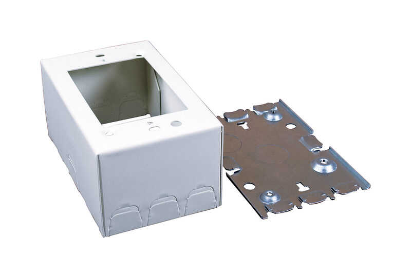 Wiremold  4-3/4 in. Rectangle  Steel  1 gang Outlet Box  Ivory