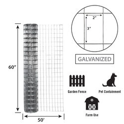 Garden Zone  60 in. H x 50 ft. L Galvanized Steel  Garden  Fence  Silver