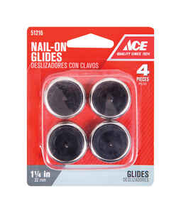 Ace  Nickel/Nylon  1.25 in. Nail On  Chair Glide  4 pk