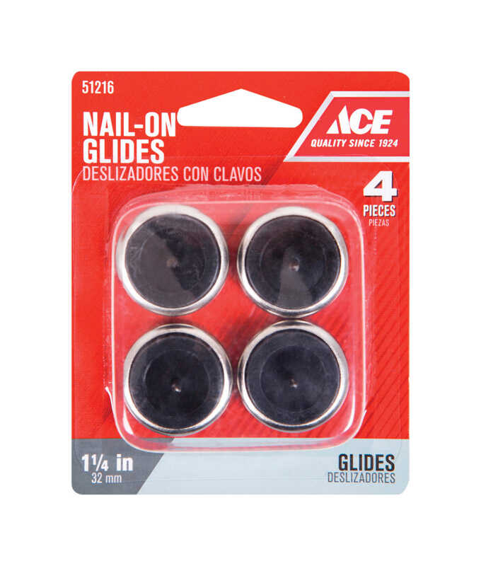 Ace  1-1/4 in. W Nickel/Nylon  1.25 in. Nail On  Chair Glide  4
