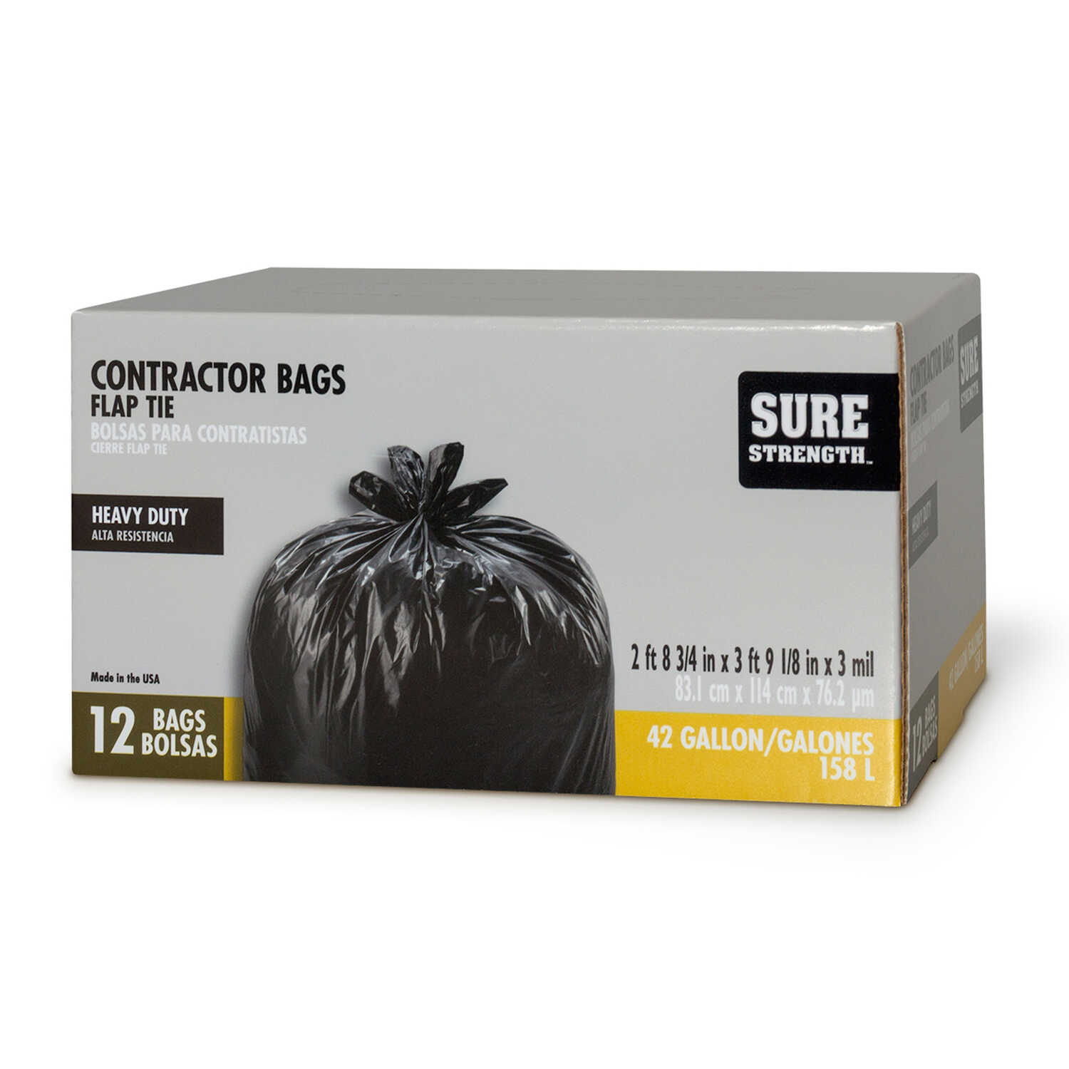 Sure Strength  42 gal. Contractor Bags  Flap Tie  12 pk