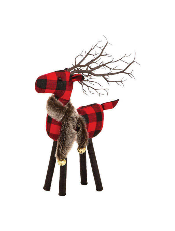 Celebrations  Standing Plaid Deer-Small  Christmas Decoration  Black/Red  Fabric  1 pk