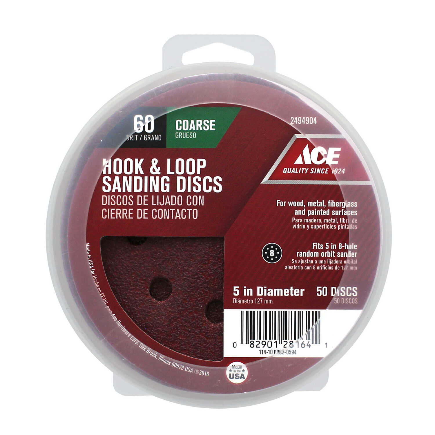 Ace  Aluminum Oxide  Hook and Loop  Sanding Disc  Coarse  50 pk 60 Grit 5 in.