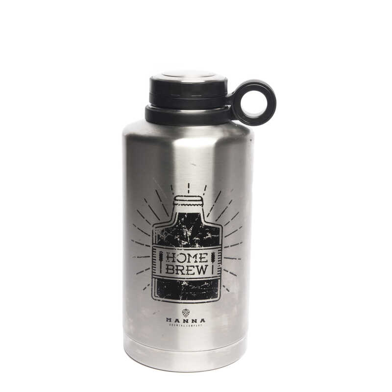 Manna  Silver  Stainless Steel  Insulated Bottle  BPA Free 64 oz. Home Brew