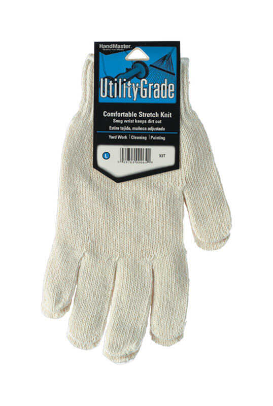 Handmaster  Unisex  Indoor/Outdoor  Cotton/Polyester Blend  Utility  Stretch Gloves  White  L