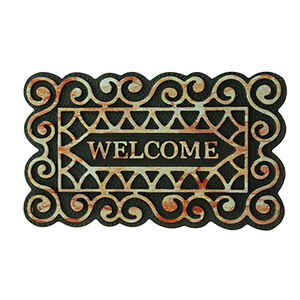 Bacova  Welcome  Multicolored  Rubber  Floor Mat  30 in. L x 18 in. W