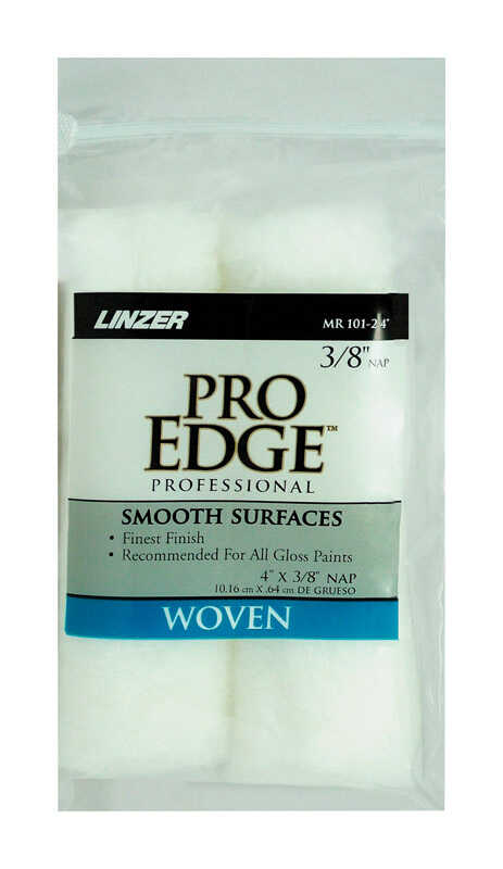 Linzer  Pro Edge  Fabric  3/8 in.  x 4 in. W Mini  Paint Roller Cover  For Smooth Surfaces 2 pk