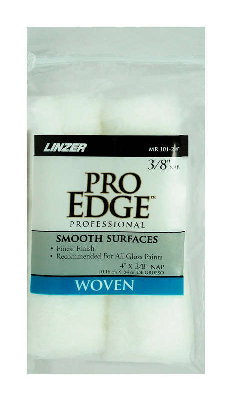 Linzer  Pro Edge  Fabric  3/8 in.  x 4 in. W Mini  Paint Roller Cover  2 pk