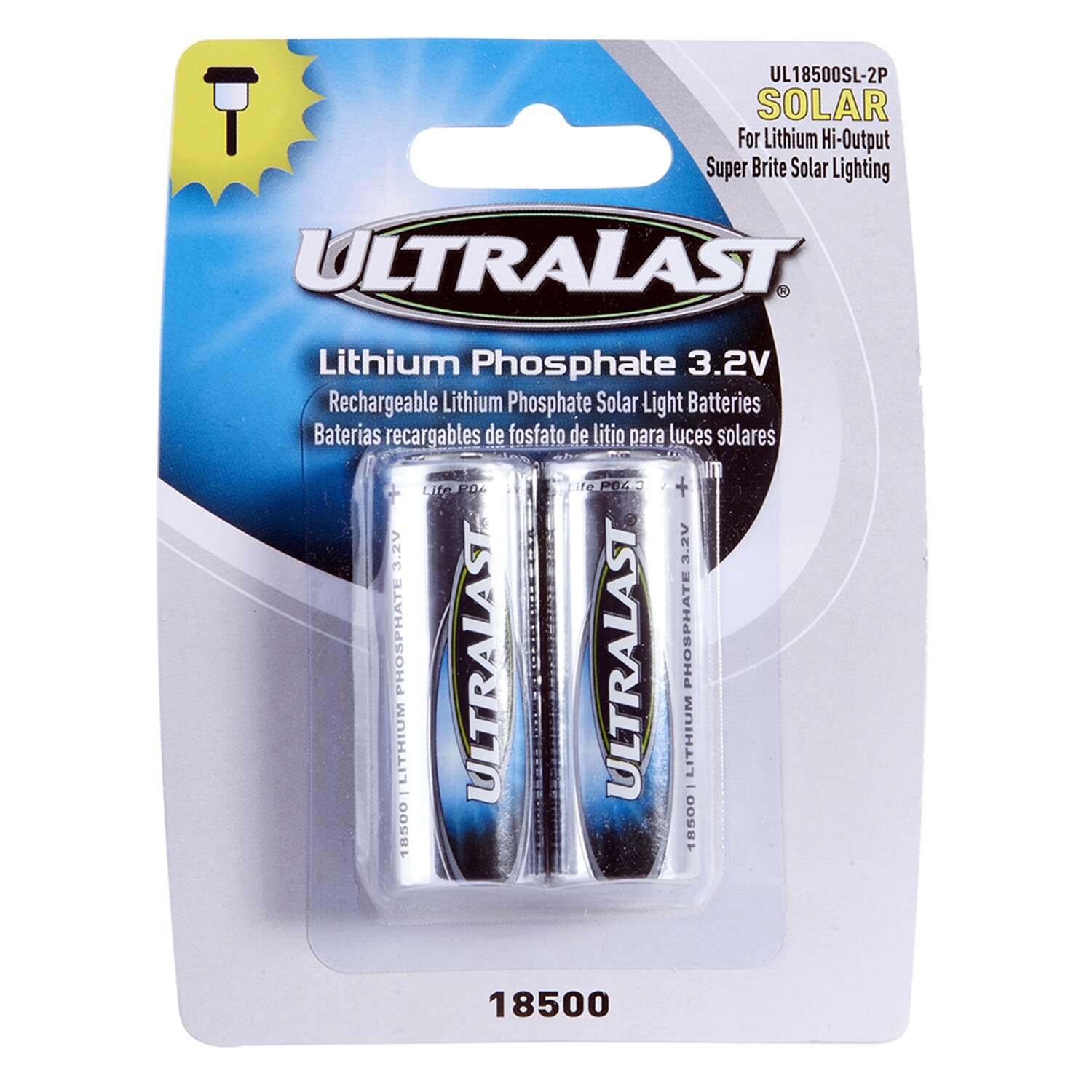 Ultralast Lithium Phosphate 18500 3.2 volt Solar Rechargeable Battery 2 pk