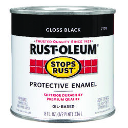 Rust-Oleum  Stops Rust  Indoor and Outdoor  Gloss  Black  Oil-Based  Protective Paint  0.5 pt.