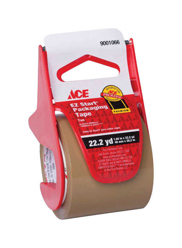 Ace  1.88 in. W x 22.2 yd. L Tan  Packaging Tape