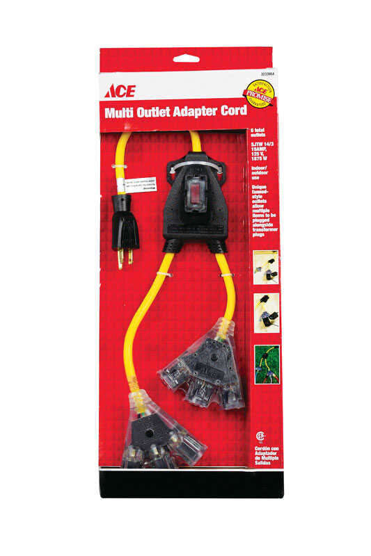 Ace  2 ft. L 6 outlets Outlet Adapter Cord