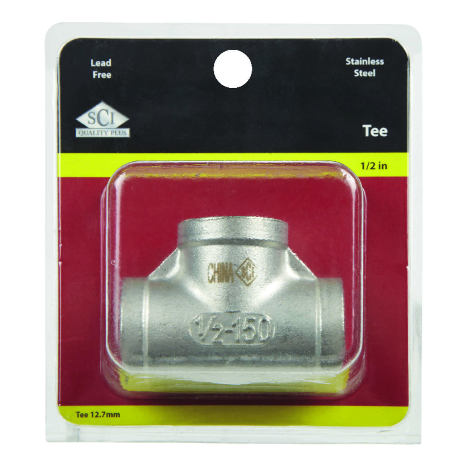 Smith-Cooper  1/2 in. FPT   x 1/2 in. Dia. FPT  Stainless Steel  Tee
